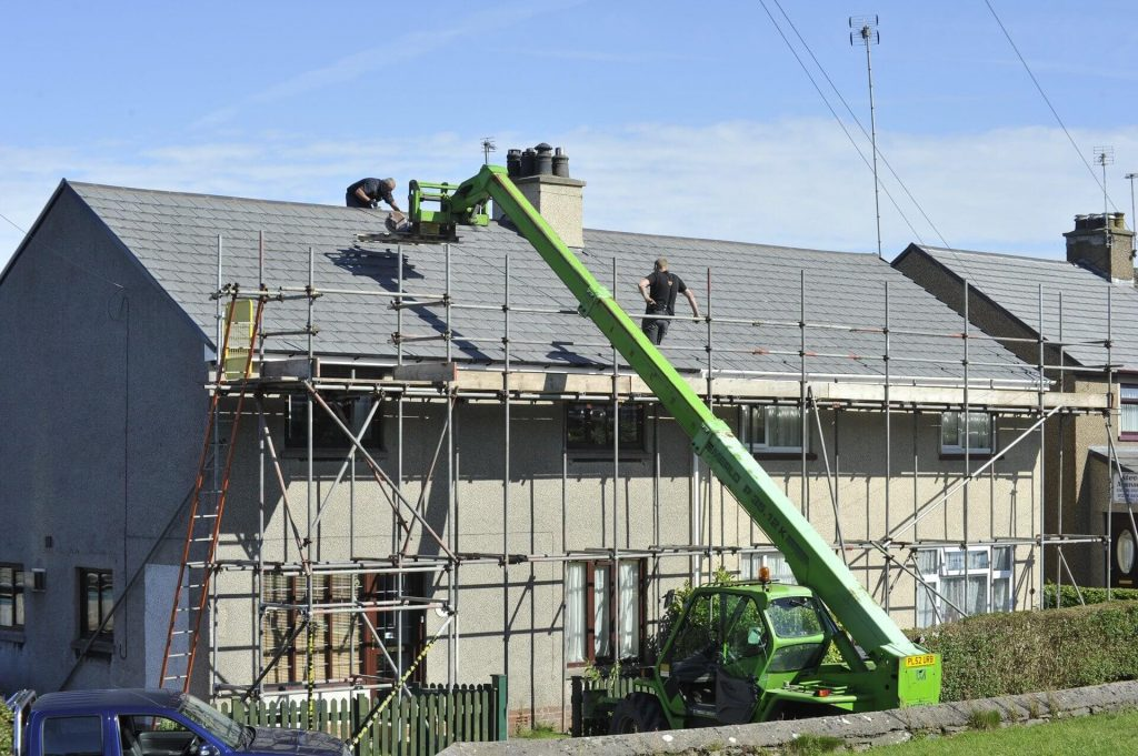 Roof replacement construction